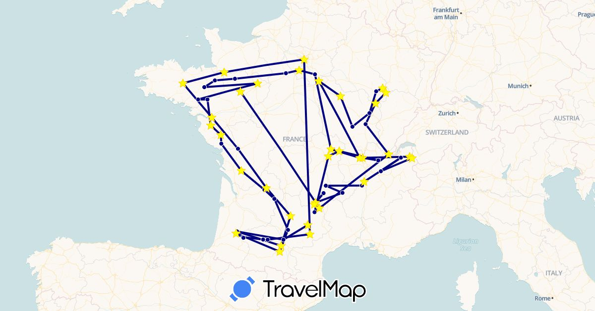 TravelMap itinerary: driving in France (Europe)